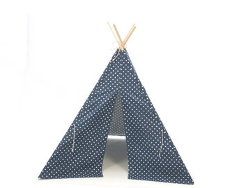 SALE!! Poles Included Teepee Play Tent Navy Blue Small Cross Four Panel