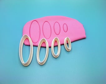 Cutter Set #43 / Long Oval Polymer Clay Cutters / Clay Shape Tool / Clay Cutter Set / Polymer Clay Tool
