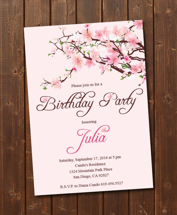 printable cherry blossom birthday invitation e card. Black Bedroom Furniture Sets. Home Design Ideas