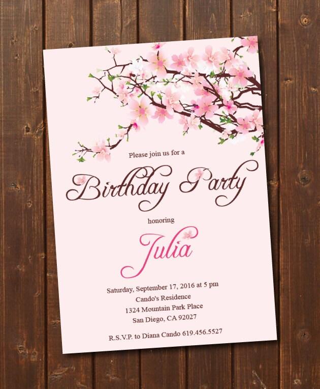 Printable Cherry Blossom Birthday Invitation/e-card