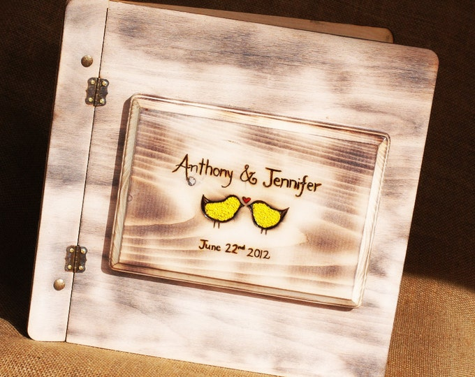 Shabby Chic Rustic Wedding Album or Guest Book with Personalized burned engraving and love bird inlay image