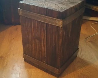 Steel bound timber side table