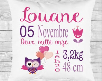 personalized pillow gift, baptism, deco room, owl, heart