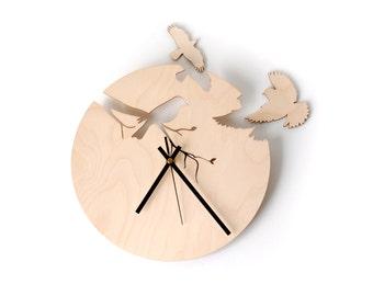 Wall clock, Birds wall clock - Unique clock, Unique gift - Anniversary, New Home, Engagement, Wedding Gift - Girls room clock