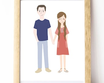 Couple Portrait -- Custom Illustration -- Digital File