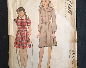 McCall's 4866 Vintage 1942 Girls Dress Pattern