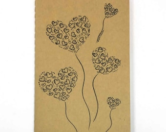 Love Pack of 2 Moleskine - Personalized notebook with hearts. size pocket (9x14)
