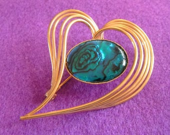 Bold and Sweeping leaf brooch with central aqua abalone cabochon