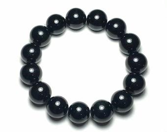12mm Beautifully Polished Natural Undyed Black Jade Gemstone Beaded Stretch Bracelet Latex Free Stretchy Bead Cord Yoga Bracelet Love Gift