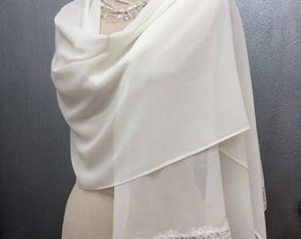 Ivory Chiffon Shawl Wrap with Chantilly Lace Bridal
