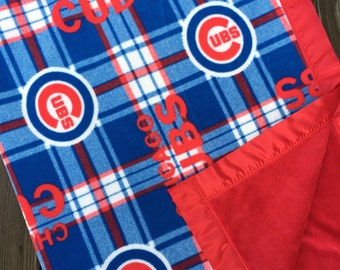 Chicago Cubs and Minky Blanket with Red Satin Binding