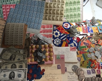 MEGA LOT(19 pc) WWII Coins+Currency+Stamps+Tokens+Pinups+Uniform+Memorabilia