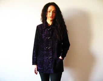 Purple Faux Persian Lamb Cardigan Eggplant Curly Lamb Jacket  Faux Fur Coat Blaser Size Medium tu Large