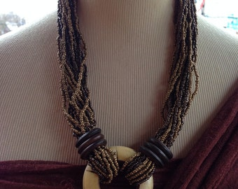 Brown multi beaded necklace