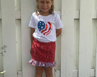 Stars and Stripes heart shirt, girls fourth of July shirt patriotic name shirt, fourth of July personalized shirt