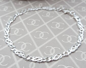 """Ladies Small Solid Sterling Silver Celtic Bracelet 7"""" GIFT BOXED"""