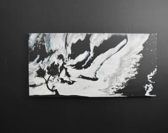 Fluid Acrylic Abstract Landscape Black and White