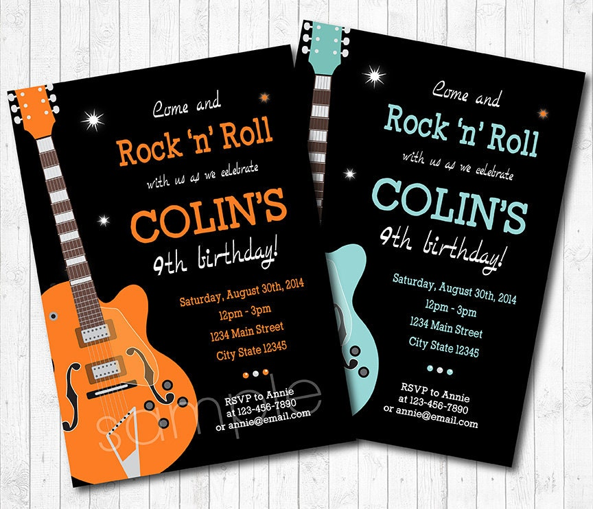 Guitar Invitation Rock n Roll Invitation Guitar Invite Rock