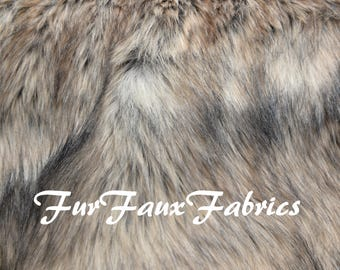 "Beige Coyote Stripes Long Shaggy Animal Prints By the Yard Remnants Faux Fur Fabrics Exotic Shag Mongolian 60"" Width"