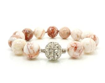 Red Vein Jasper Bracelet, Beaded Bracelet, Gemstone Bracelet, Beadwork Bracelet, Hand Knotted Bracelet, Magnetic Clasp Bracelet
