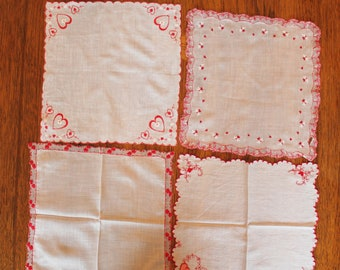 Lot of 4 Red and White Valentine's Day Vintage Cotton Handkerchiefs