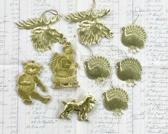 Dresden Vintage Christmas Ornaments Gold German Craft Supply Paper Ephemera