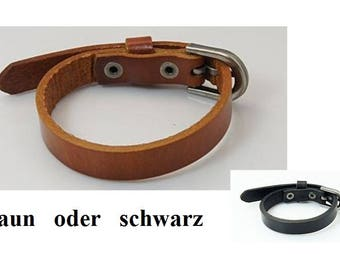 Bracelet, leather bracelet, leather, watch bracelet, black, light brown, buckle closure, buckle