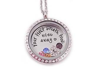 Personalized Your First Breath Took Mine Away Locket  - Engraved Mother Jewelry - Memory Locket - Mother's Day - Gift Mom - Baby - 1247