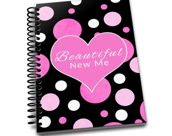 Beautiful New Me | Daily Food & Exercise Journal |90 Days Meal Activity Tracker |Become Beautiful |6 x 9 | Food Journal | Pink White Polka
