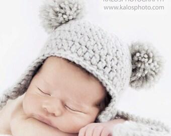Baby Ear-flap Beanie with 2 Pom-Poms, Newborn Bear Hat