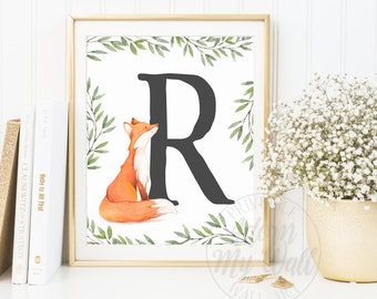 Custom Initial, Nursery Monogram, Fox Nursery, Woodland Nursery, Nursery Initial, Fox Print, fox Nursery Wall Art, Nursery Letter prints