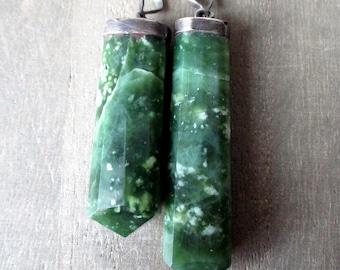 Jade oxidized silver large pendant- 1 Pendant