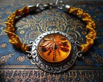 Dragonfly in Amber Outlander Inspired Braided Bracelet Silver Tones - Gift For Her