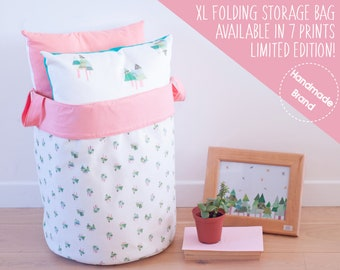 Woodland Laundry Bag Cream Pink, Large Fabric Clothes Basket, Forest Decor, Bed Linen Storage, Big Laundry Hamper, Bathroom Towel Storage