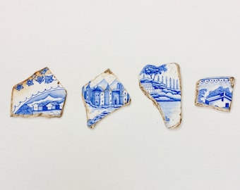 A4 Original watercolour painting of blue & white pottery shards.