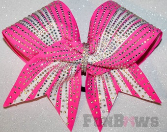 Gorgeous AB  Rhinestone Allstar Cheerleading Hairbow - Tons of Bling - in your colors !