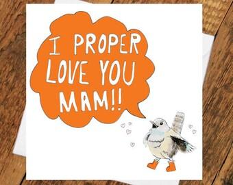 Mam birthday card mothers day mammy best mum for her grandma geordie for love you cute bird wren