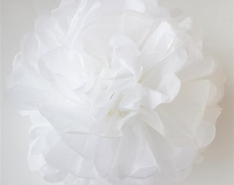 WHITE tissue paper pom pom - Large/medium/small size - handmade - lots of colours to choose from