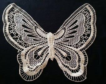 1 x large guipure lace collar applique Golden 30 cm X 28 cm