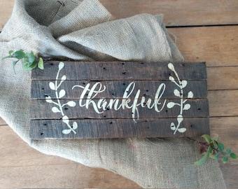 Thankful Reclaimed Barn Wood Sign