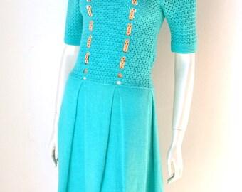 Crochet Vintage 1960's 60's Twiggy Handmade Pop Mod 60s retro mesh knit dress