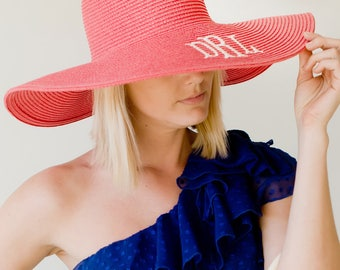 Monogram Sun Hat, Monogram Beach Hat, Floppy Hat, Straw Hat, Monogram Floppy Hat, Coral Hat, Ladies beach hat, personalized hat, cruise hat
