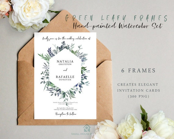 Digital Clipart- Watercolor leaves  Clipart, wreath Clip art, leaf Clipart, wedding diy clip art- Leafy Green Frames