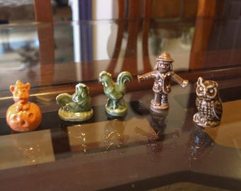 Lot of Wade of England Red Rose Tea Whimsies – 2 Green Chickens, Cat in Pumpkin, Scarecrow and Owl