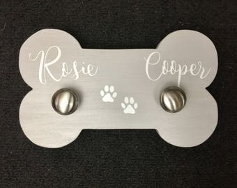Dog Leash Holder | Wood Dog bone | Leash Holder | Pet Room Decor |  Dog lover gift | kennel decor |  home decor | Gift | New Puppy | Name