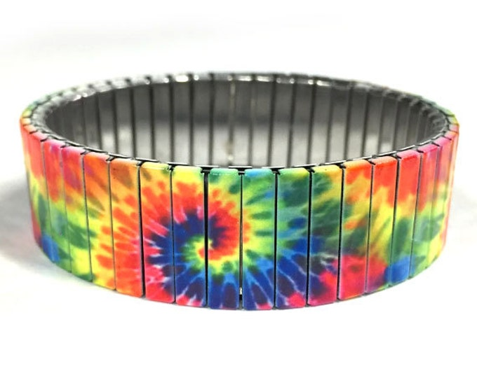 Bracelet TIE DYE, Rainbow color, Stainless Steel, Repurpose Watch Band, Stretch Bracelet, Wrist Band, Sublimation, gift for friends