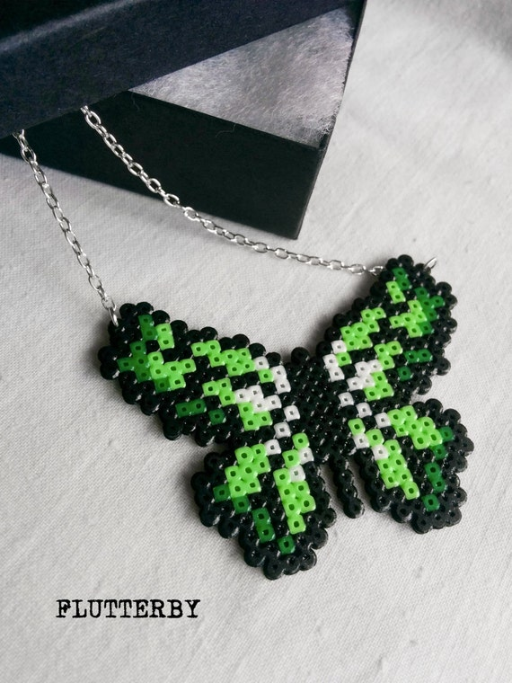 Flutterby necklace in shades of green made of Hama Mini Perler Beads for those gamer girl butterfly lovers
