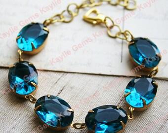 Glass Jewel Bracelet Stunning Blue Zircon, Dark Aqua Vintage Georgian Style Art Deco, Statement Bracelet