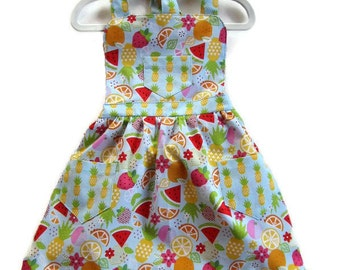 Children's Apron, Toddler Apron, Girls Apron, Baking Apron, Cooking Apron, Fruit Apron, Kids Apron, Little Girls Apron, Ruffled Hem Apron
