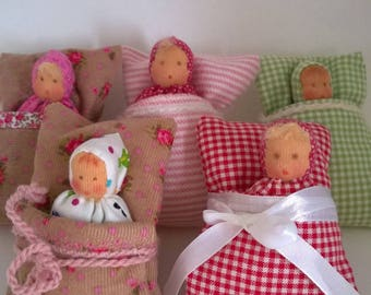 little baby, unique, eco-friendly flannel fabric, doll sleeping bag, handmade, eco-friendly material